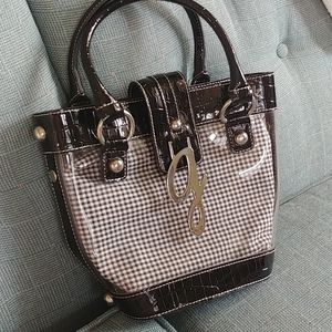 Guess G checkered tote